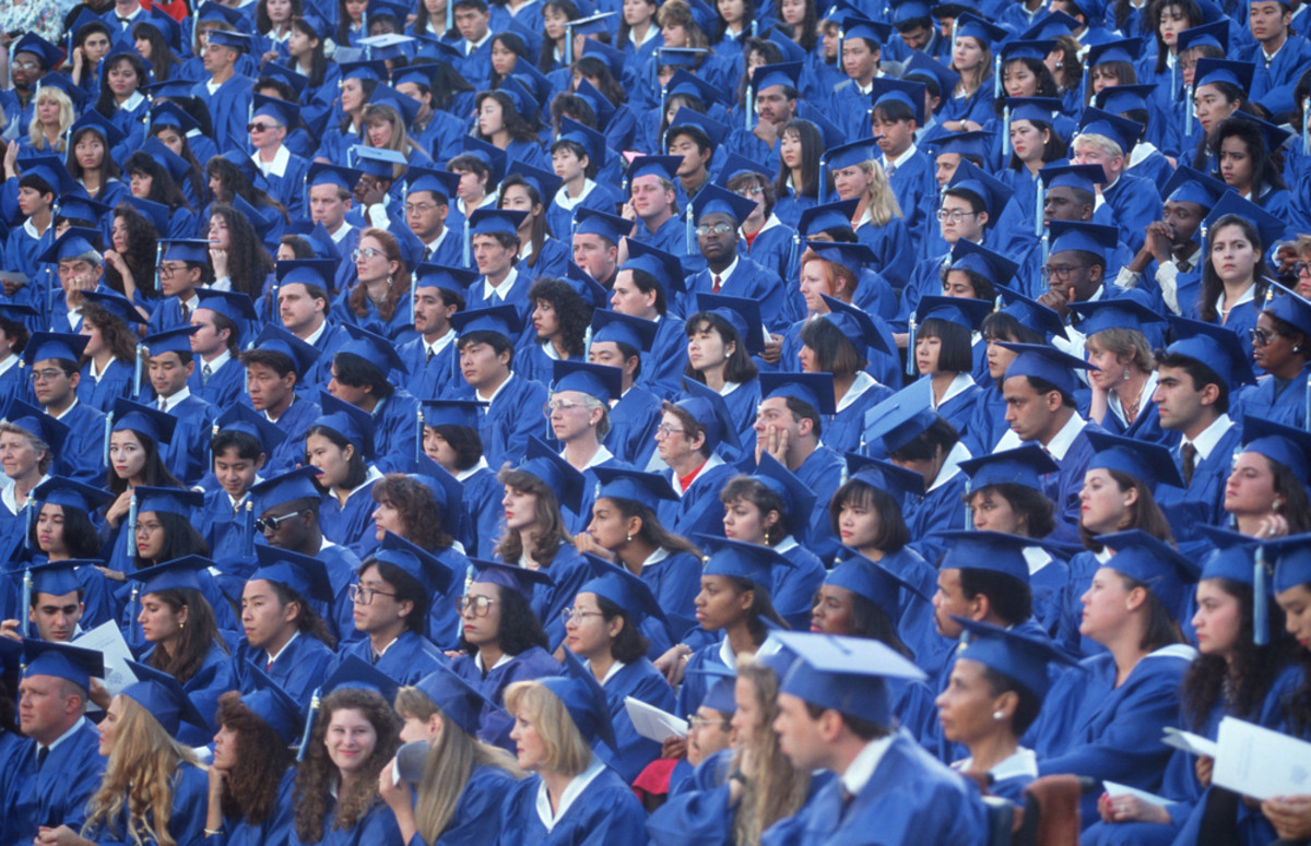 A graduation ceremony, at Santa Monica City College, California, in 1998. (Photo: Joseph Sohm/Shutterstock)