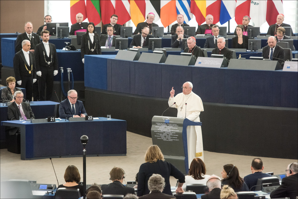 Pope Francis holding a speech at the European Parliament. (Photo: European Parliament/Flickr)