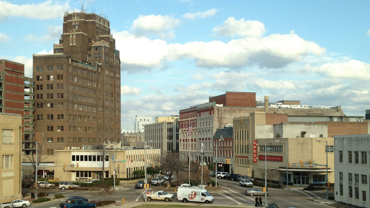 A view of downtown Meridian, Mississippi, from the third floor of Meridian City Hall. (Photo: Dudemanfellabra/Wikimedia Commons)
