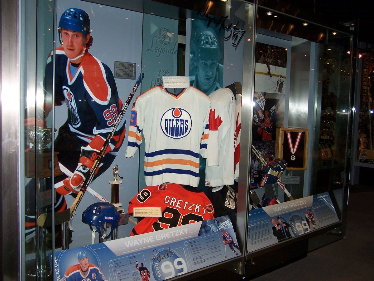 The Wayne Gretzky display at the Hockey Hall of Fame. (Photo: Thomas Crenshaw/Wikimedia Commons)