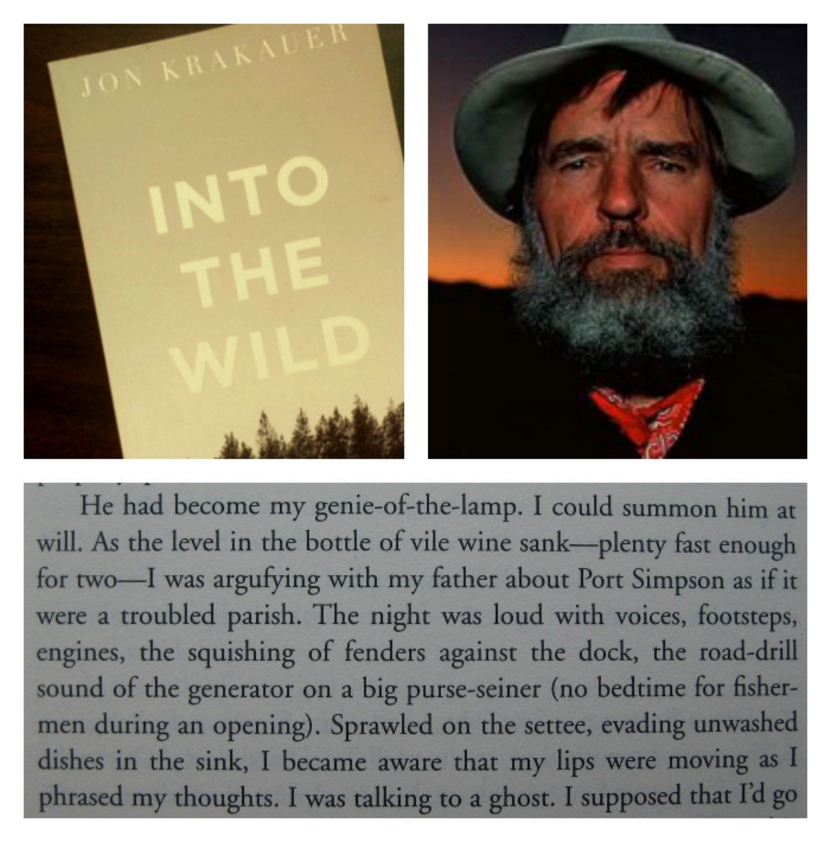 From top left, clockwise: A copy of Into the Wild (Photo: solarisgirl/Flickr); Edward Abbey (Photo: Tillman/Wikimedia Commons); and text from A Passage to Juneau (Photo: Wolf Gang/Flickr).
