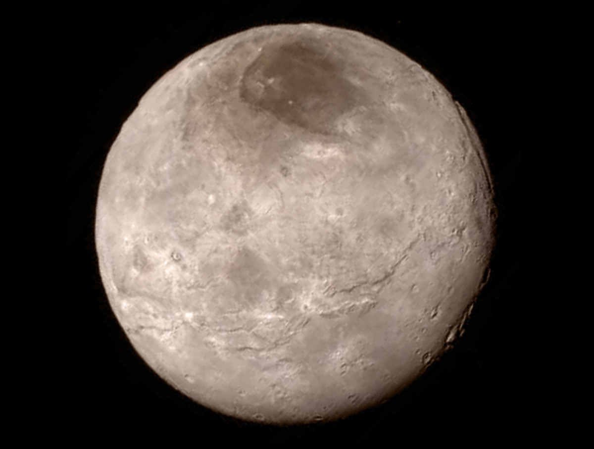 Details of the surface of Pluto's largest moon, Charon. (Photo: JHU/NASA)