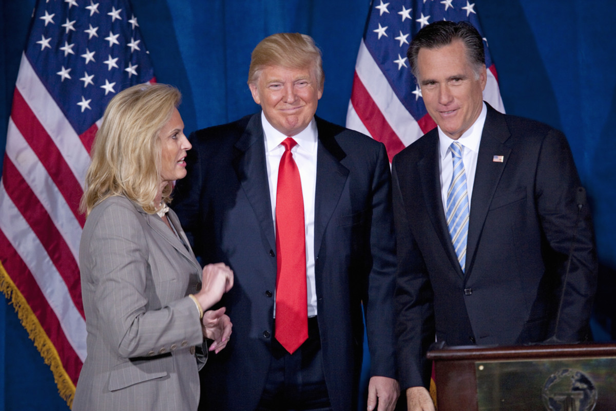 Donald Trump, center, with Mitt and Ann Romney in 2012. (Photo: Joseph Sohm/Shutterstock)
