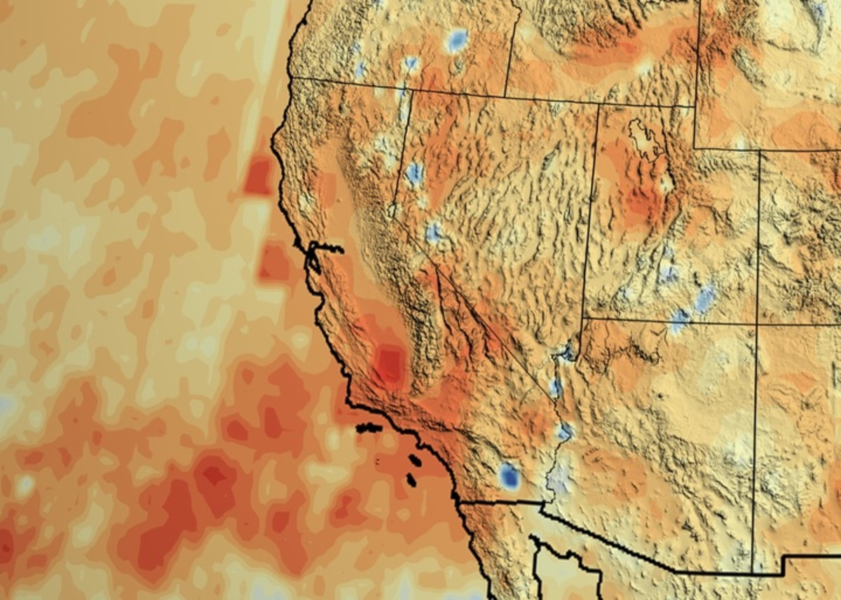 Southern California has had much less rainfall in recent years than it usually does. This visualization shows how much more or less rain different regions received, compared to their average, in 2012 through 2014. Redder spots are drier than usual. (Photo: NASA/Goddard Scientific Visualization Studio)