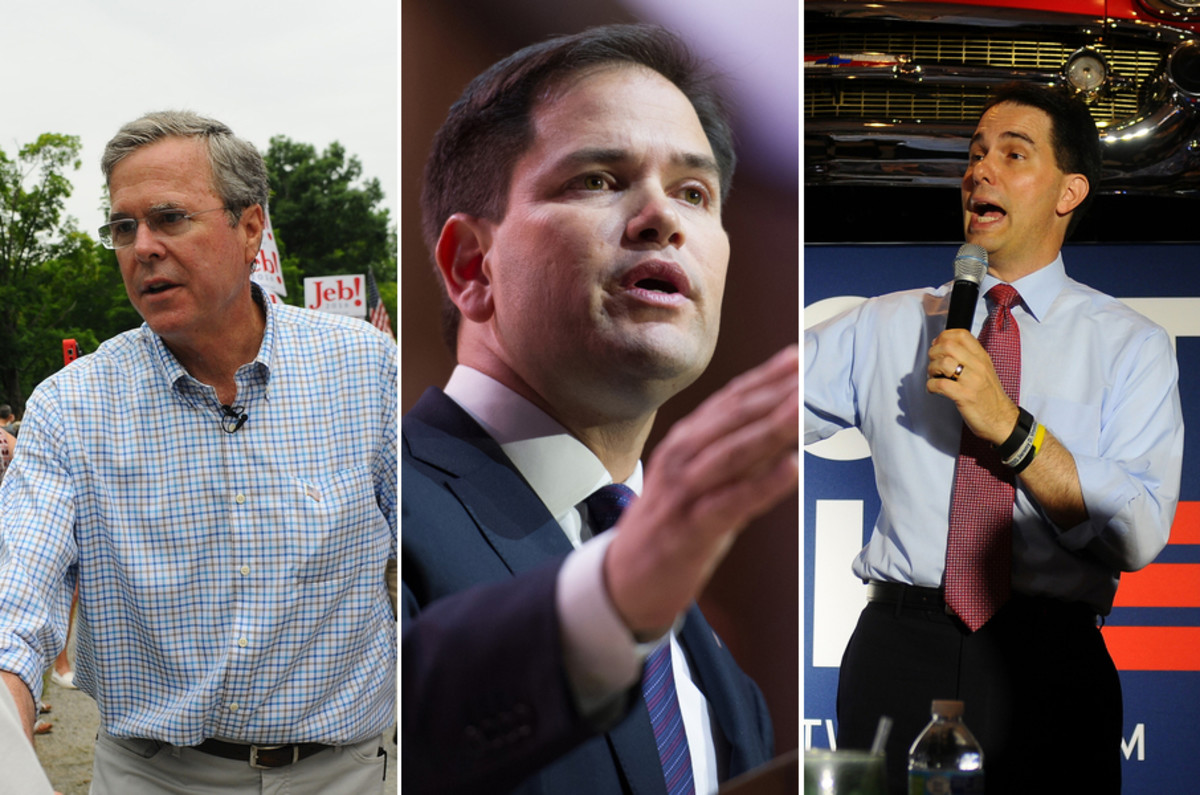 Your most likely candidates for the Republican nomination: Jeb Bush (Photo: Andrew Cline/Shutterstock), Marco Rubio (Photo: Christopher Halloran/Shutterstock), and Scott Walker (Photo: Andrew Cline/Shutterstock).