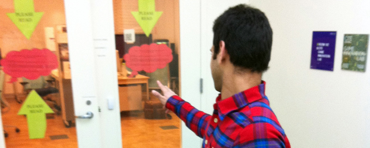 Using the gesture-based entry system. (Photo: New York University's Game Innovation Lab)