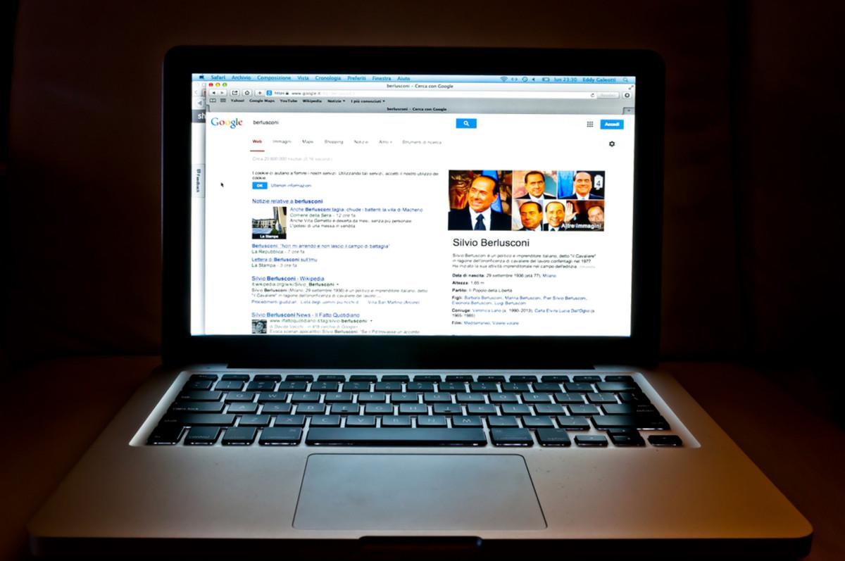 Google Web search related to Italian politician Silvio Berlusconi. (Photo: Eddy Galeotti/Shutterstock)