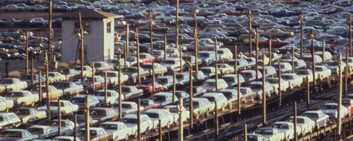 New cars built in Detroit loaded for rail transport, 1973. (Photo: Environmental Protection Agency)