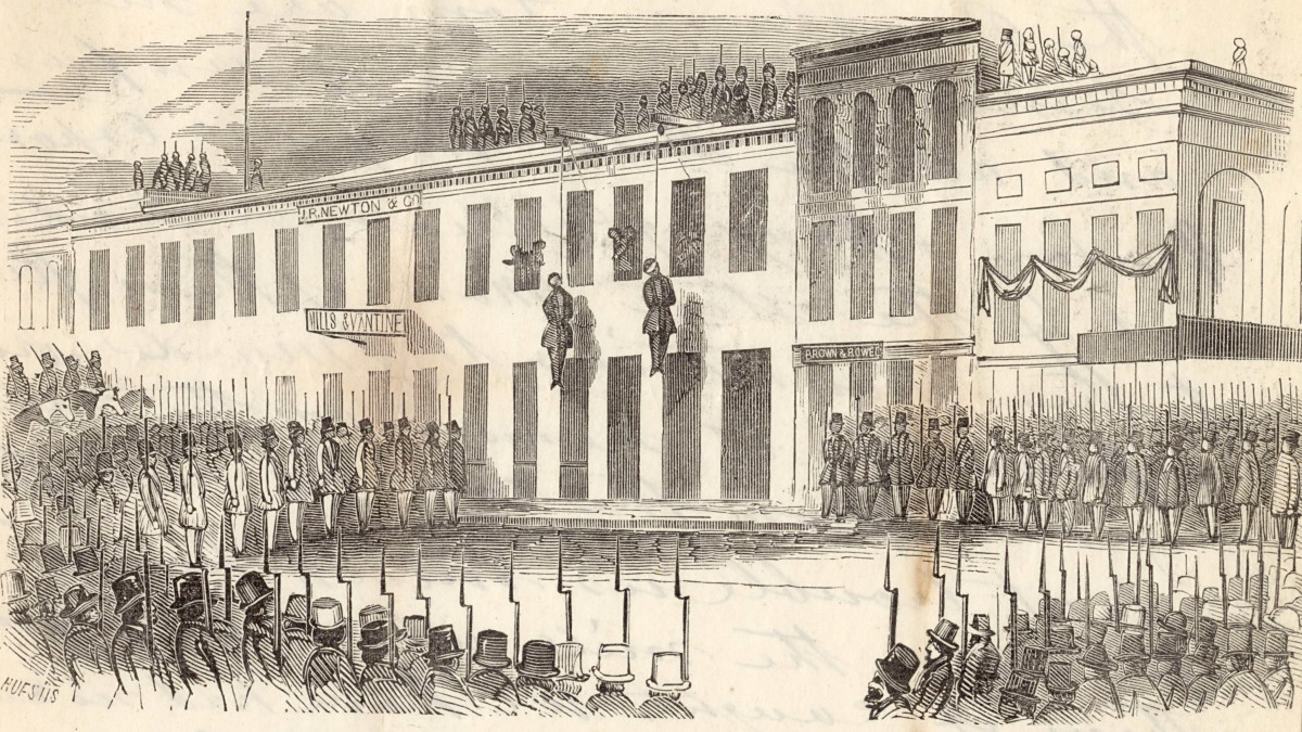 Charles Cora and James Casey are hanged by the Committee of Vigilance, San Francisco, 1856. (Photo: Wikimedia Commons)