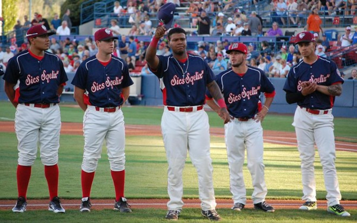 David Denson, center, was named MVP of the Pioneer League all-star game in August. (Photo: Josh Randolph/9inningknowitall)