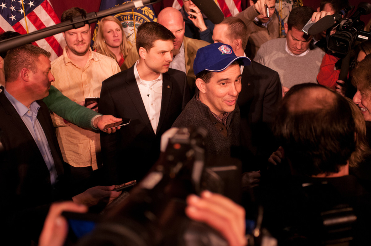 Wisconsin Governor Scott Walker talks with voters in Concord, New Hampshire, in March 2015. (Photo: Andrew Cline/Shutterstock)