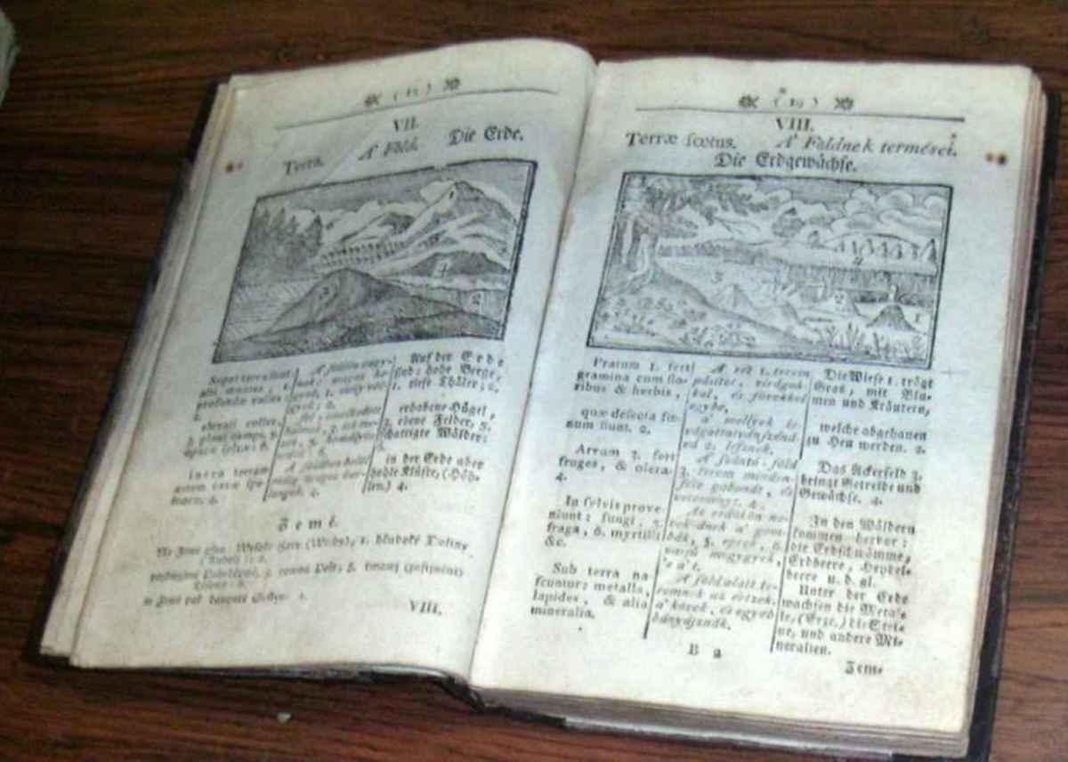 Una nueva impresión de los fines del siglo 18 del libro de Orbis Pictus por Comenius, el primer libro ilustrado para niños. (Photo: Wikimedia Commons)