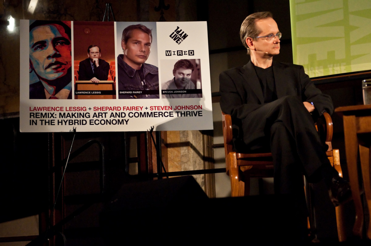 "Law  professor Lawrence Lessig discusses copyright problems at ""Remix: Making  Art and Commerce Thrive in the Hybrid Economy"" on February 26, 2009, at  the New York Public Library. (Photo: George Koroneos/Shutterstock)"