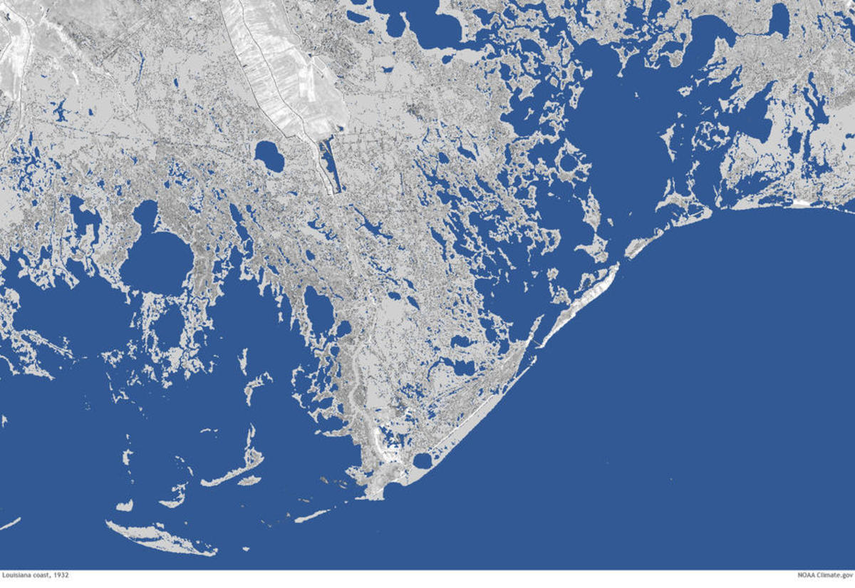 The Louisiana coast in 1932. (Photo: NOAA)
