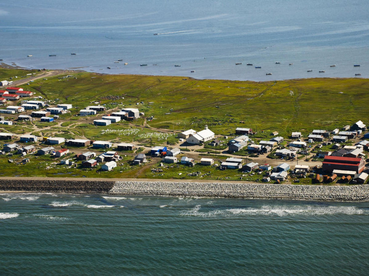 Shishmarek, an Inupiaq community on a small  barrier island in the Chukchi Sea, is working with the U.S. Army Corps  of Engineers to re-locate to the mainland. (Photo: Bering Land Bridge National Preserve)