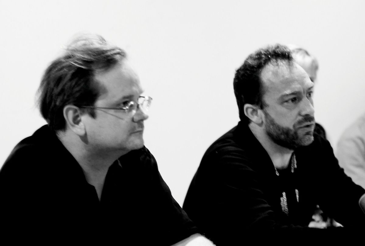 Larry Lessig and Wikipedia founder Jimmy Wales at the iCommons iSummit07 in Dubrovnik, Croatia. (Photo: Joi Ito/Wikimedia Commons)