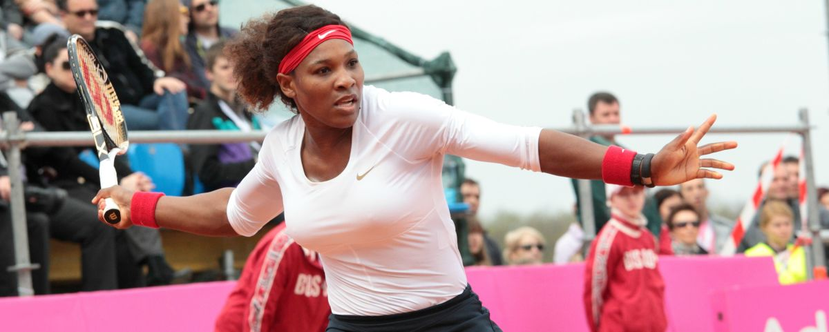 Serena Williams, mid-grunt. (Photo: Lilyana Vynogradova/Shutterstock)