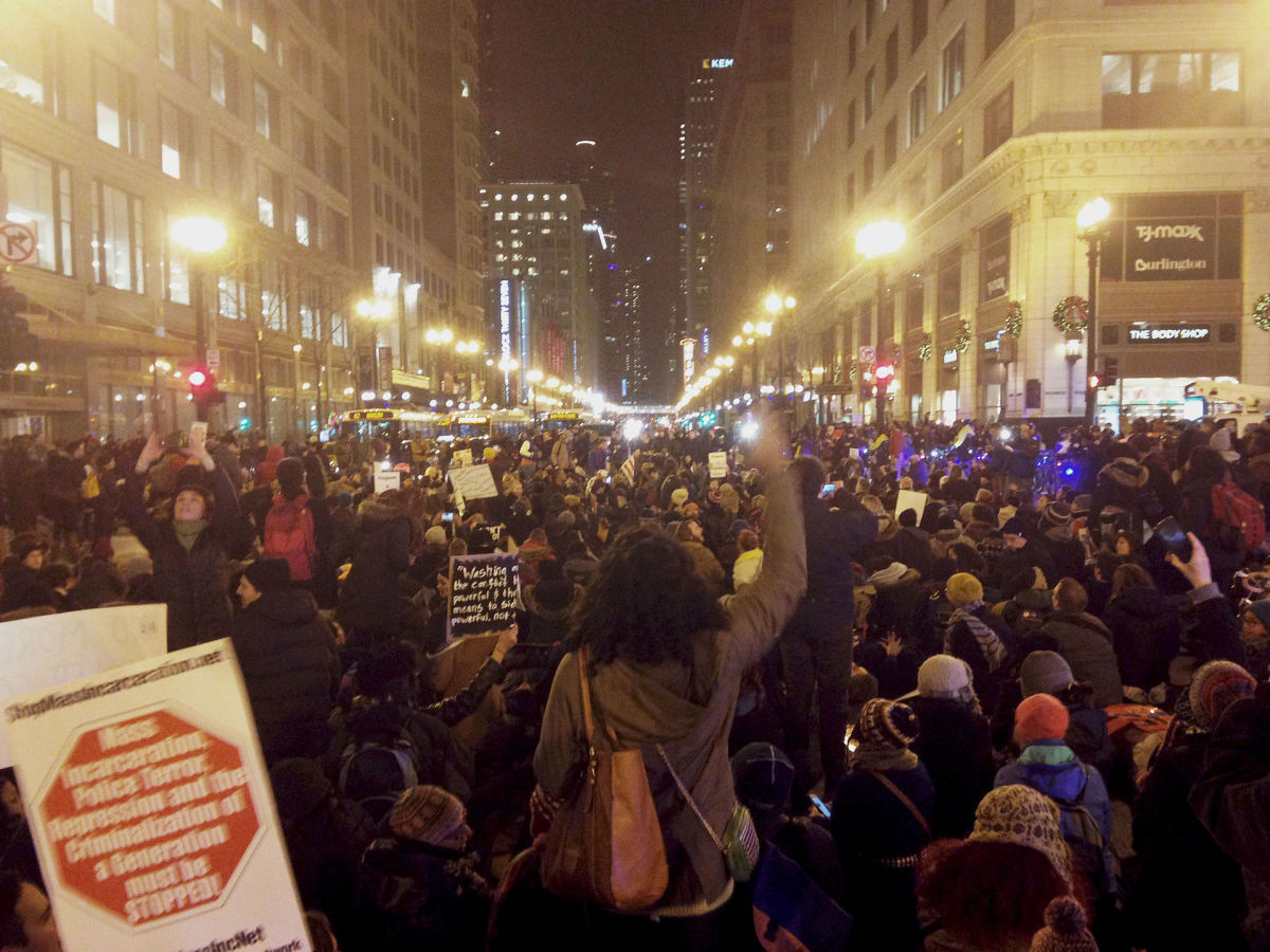 Chicago protests after the grand jury decision on Eric Garner's case. (Photo: Samantha Lotti/Wikimedia Commons)