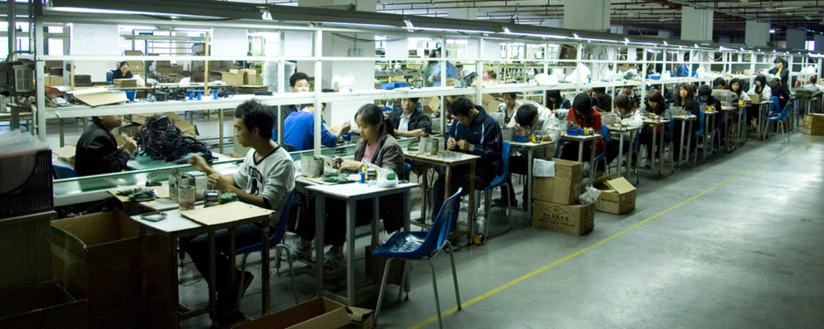 The assembly line at an earphone factory in Shenzhen, China. (Photo: BartlomiejMagierowski/Shutterstock)
