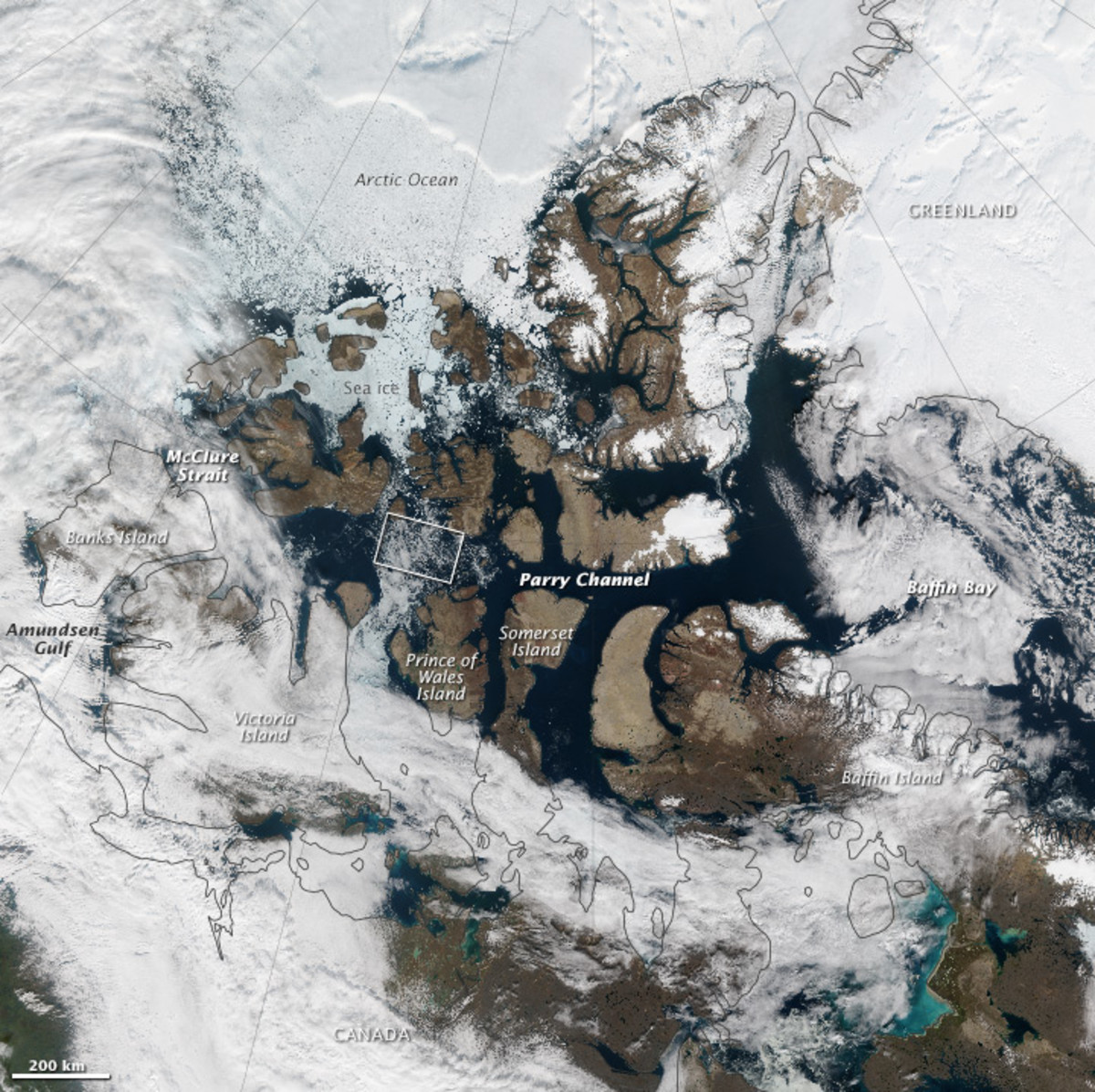 An overhead view of the Northwest Passage, using VIIRS data from the Suomi National Polar-orbiting Partnership. (Photo: Jesse Allen)
