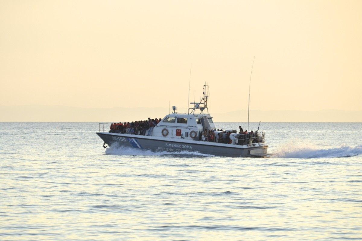A Greek ship after picking up refugees who crossed  from Turkey to Europe near Mytilene, Lesvos, on June 11, 2015. (Photo: Malcolm Chapman/Shutterstock)