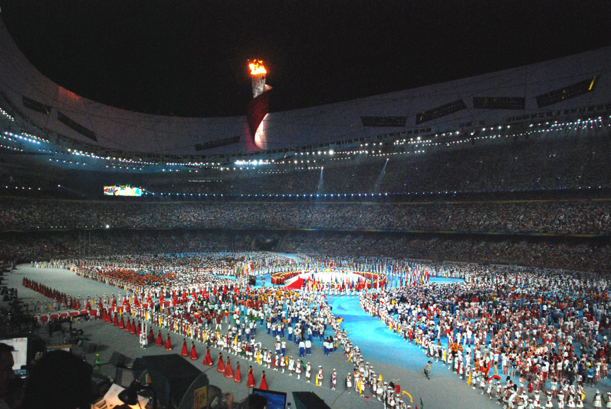Athletes gather in the stadium during the closing ceremony of the Beijing 2008 Summer Olympics. (Photo: JMex/Wikimedia Commons)