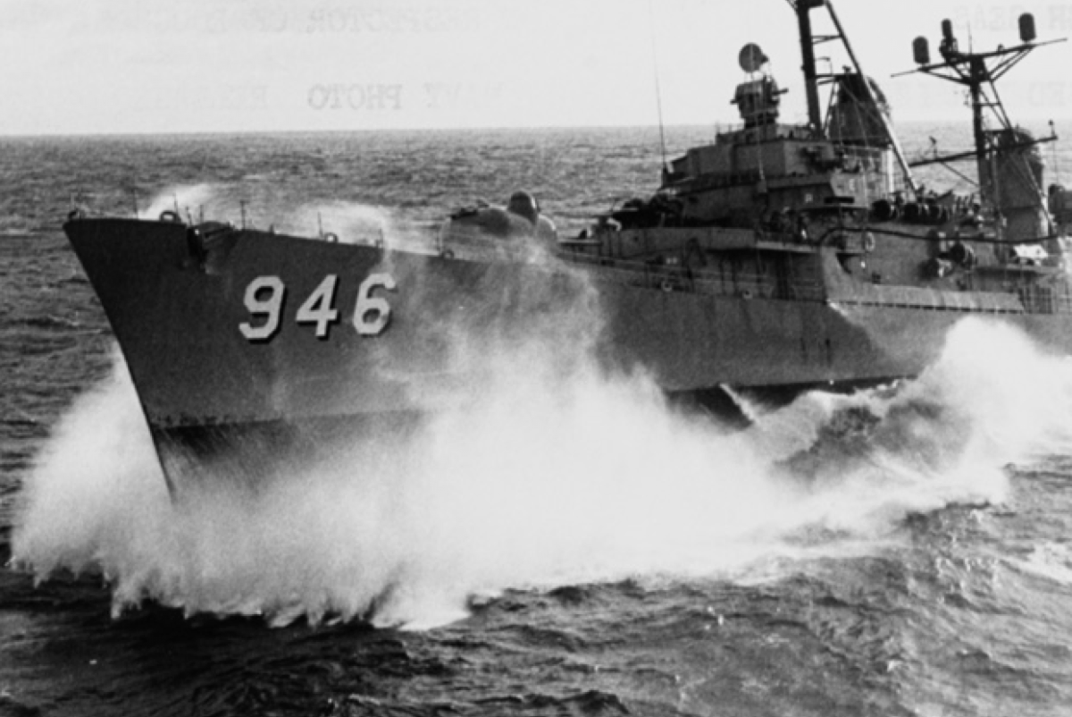 The destroyed Edson, shown in this undated photo, re-fuels from the aircraft carrier Hancock off the coast of Vietnam. (Photo: Naval History and Heritage Command)