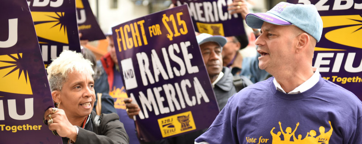 Union and labor activists gather in New York City to seek a $15 per hour minimum wage. (Photo: a katz/Shutterstock)