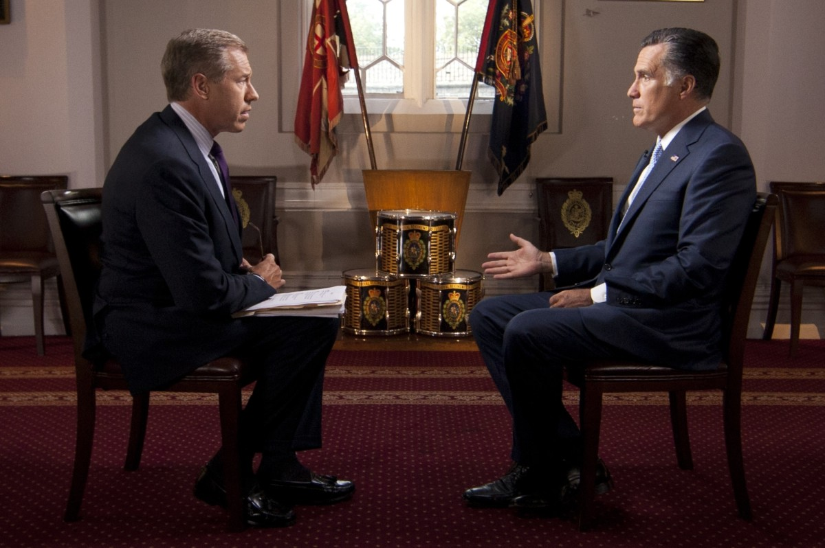 Brian Williams interviews Mitt Romney in 2012. Just two guys making—and reporting—the news. (Photo: Anthony Quintano/Wikimedia Commons)