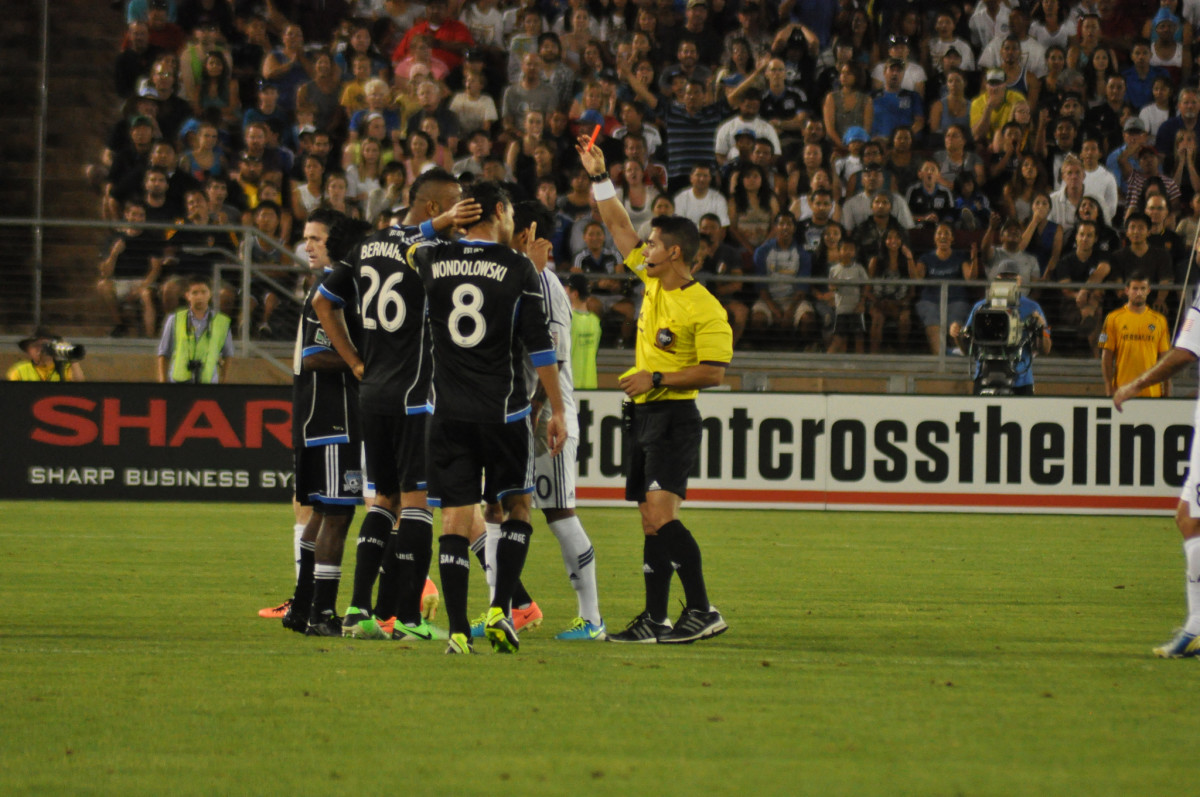 A red card issued during a Major League Soccer game. (Photo: Bay Area Bias/Flickr)