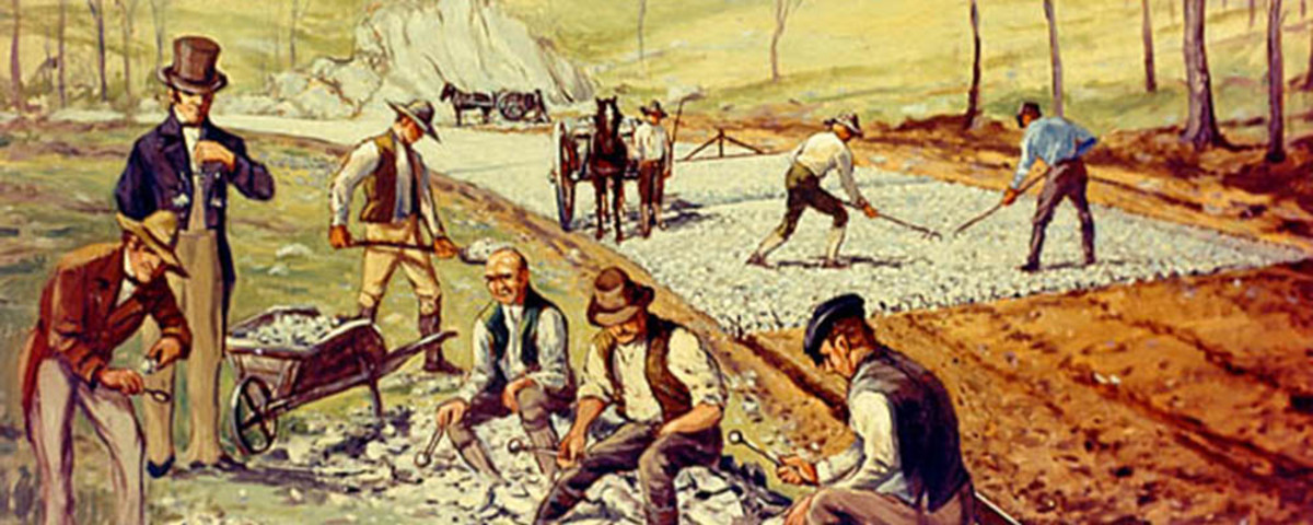 A Carl Rakeman painting of the construction of the first macadamized road in the United States, 1823. (Photo: Public Domain)