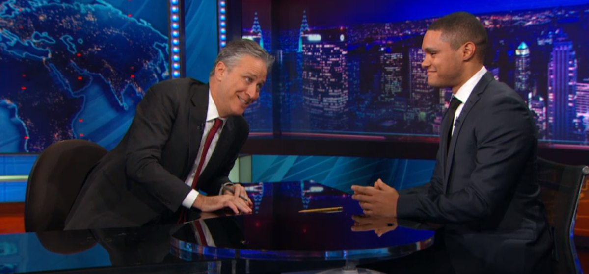 Jon Stewart with Trevor Noah. (Photo: Comedy Central)