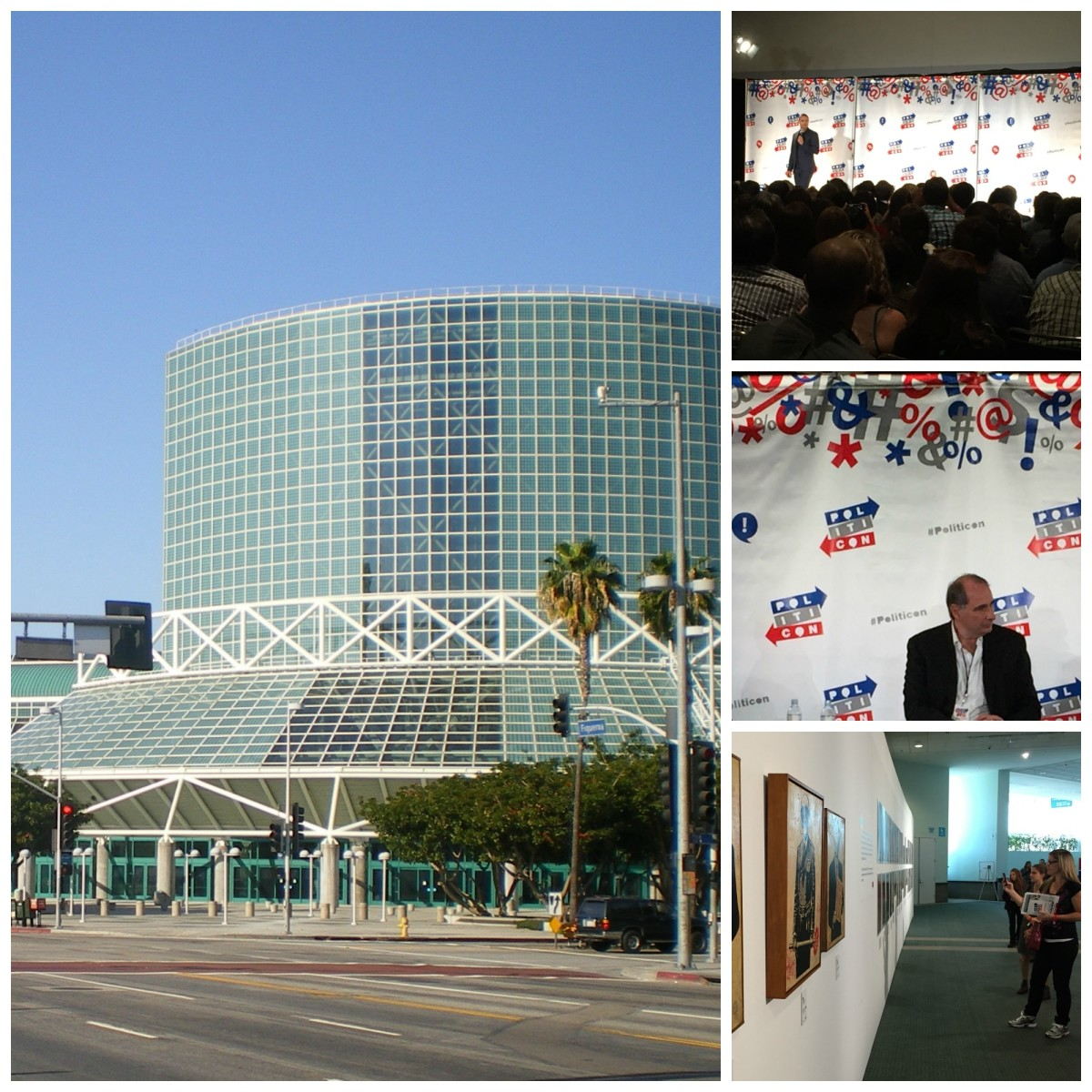 Clockwise from left: Los Angeles Convention Center (Photo: Wikimedia Commons); Trevor Noah performing live (Photo: Max Ufberg); David Axelrod sitting in on a panel (Photo: Max Ufberg); Politicon attendees viewing a featured art exhibit (Photo: Max Ufberg).