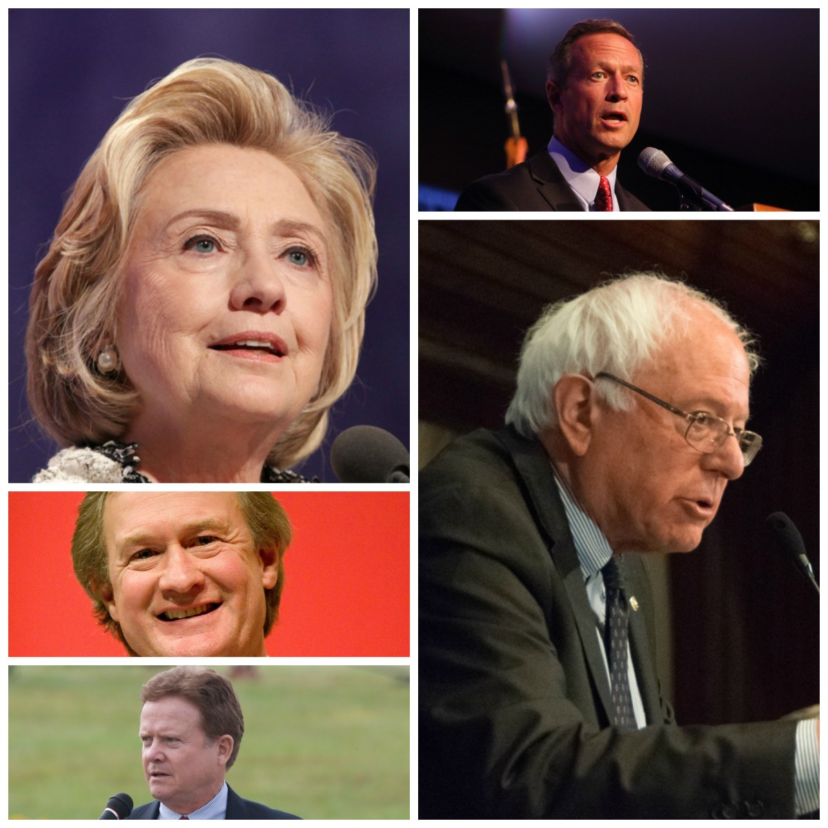 From top left: Hillary Clinton (Photo: JStone/Shutterstock); Martin O'Malley (Photo: Gregory Hauenstein/Flickr); Bernie Sanders (Photo: Albert H. Teich/Shutterstock); Jim Webb (Photo: Rob Shenk/Flickr); Lincoln Chafee (Photo: Kenneth C. Zirkel/Wikimedia Commons).