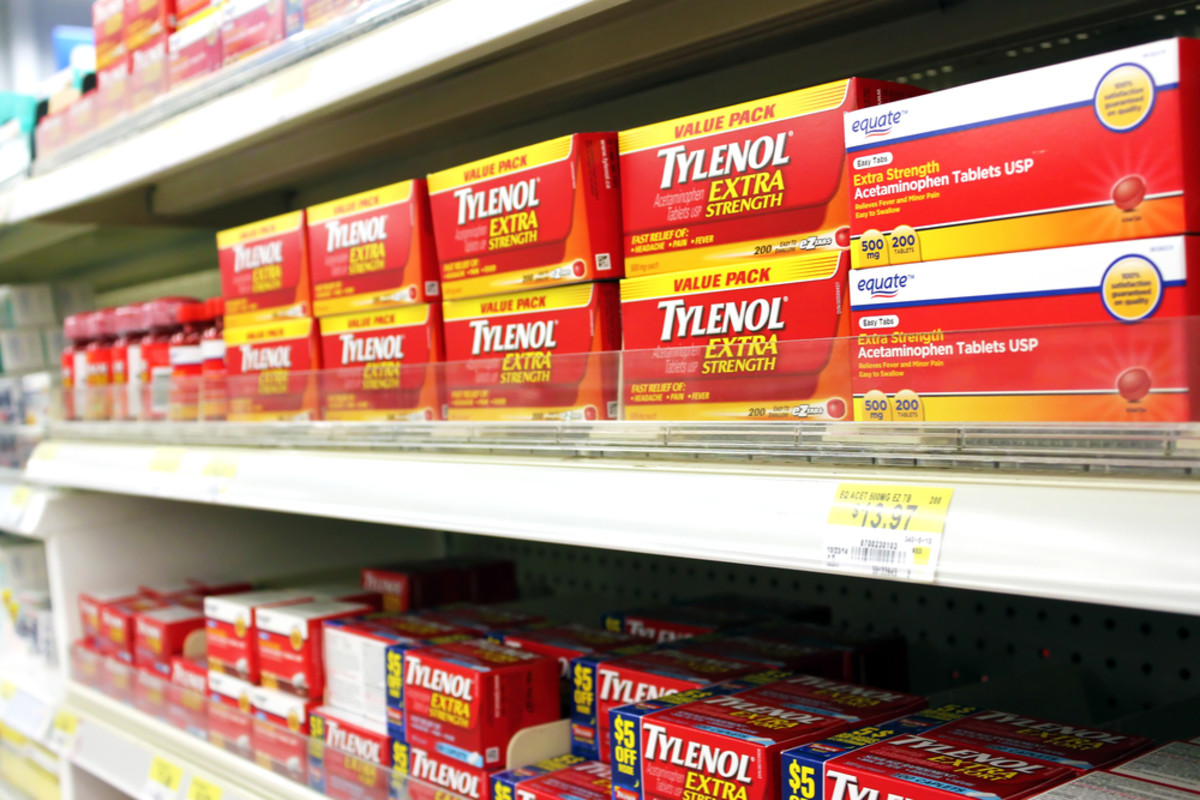 Boxes of Tylenol pain reliever on shelves in a pharmacy. (Photo: Niloo/Shutterstock)
