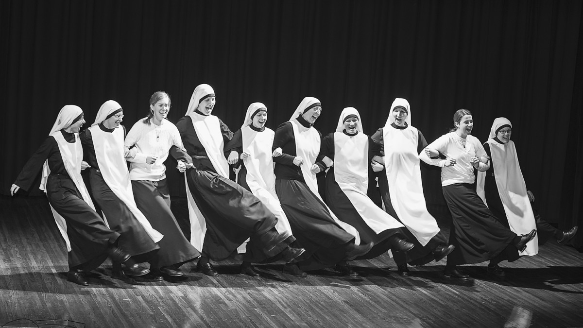 The Handmaids of the Heart of Jesus performing in a talent show for their families and friends. (Photo: Linda Osborne)