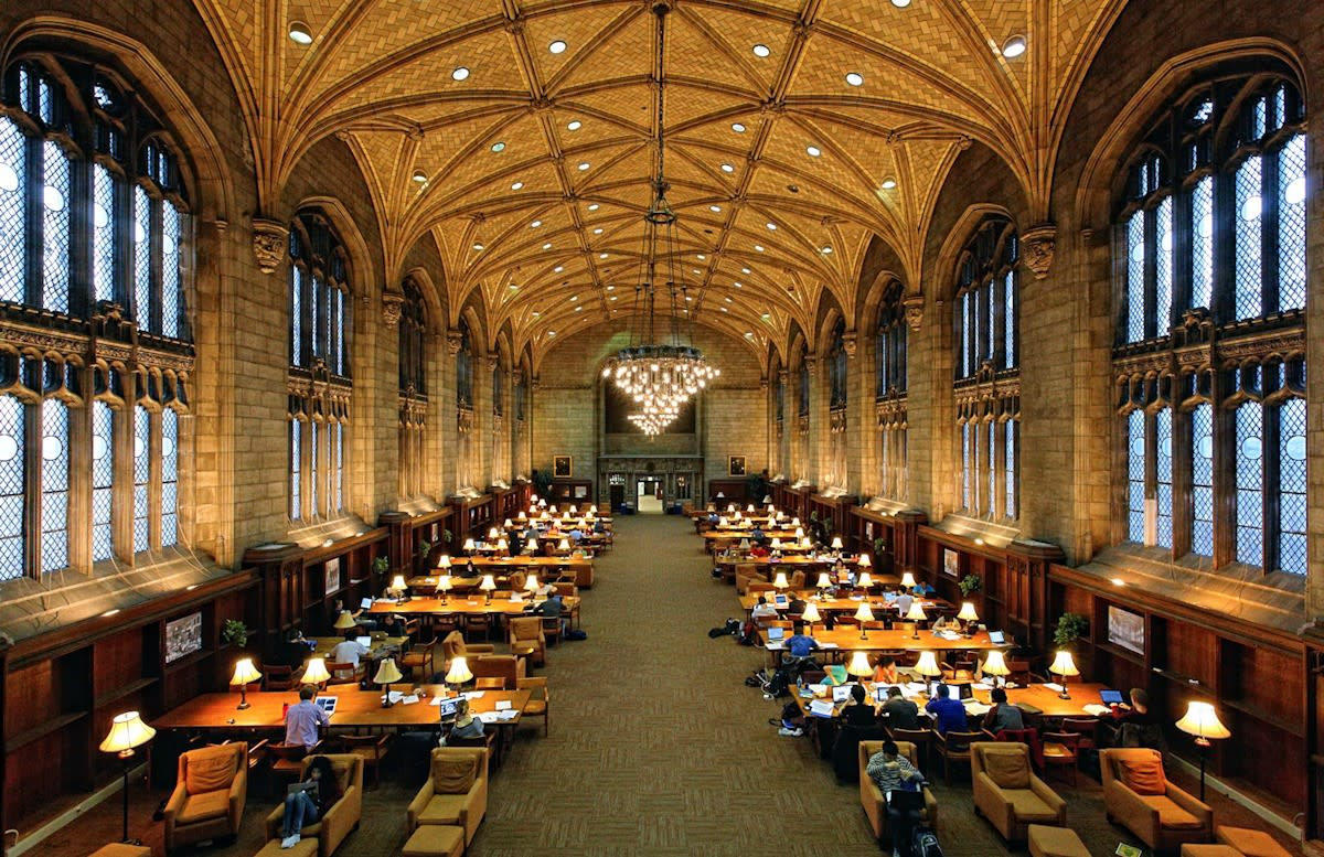 Students at the University of Chicago studying for finals.