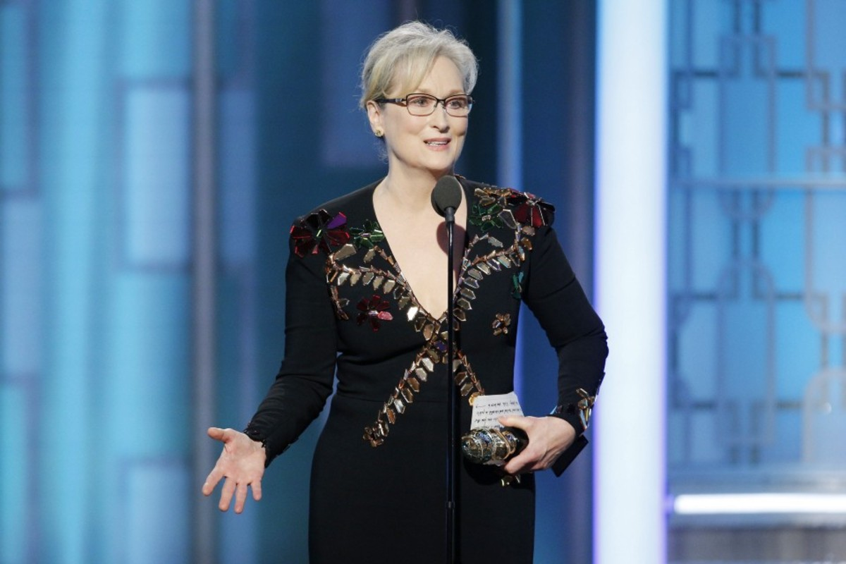 Meryl Streep accepts the Cecil B. DeMille Award during the Golden Globe Awards on January 8th, 2017.