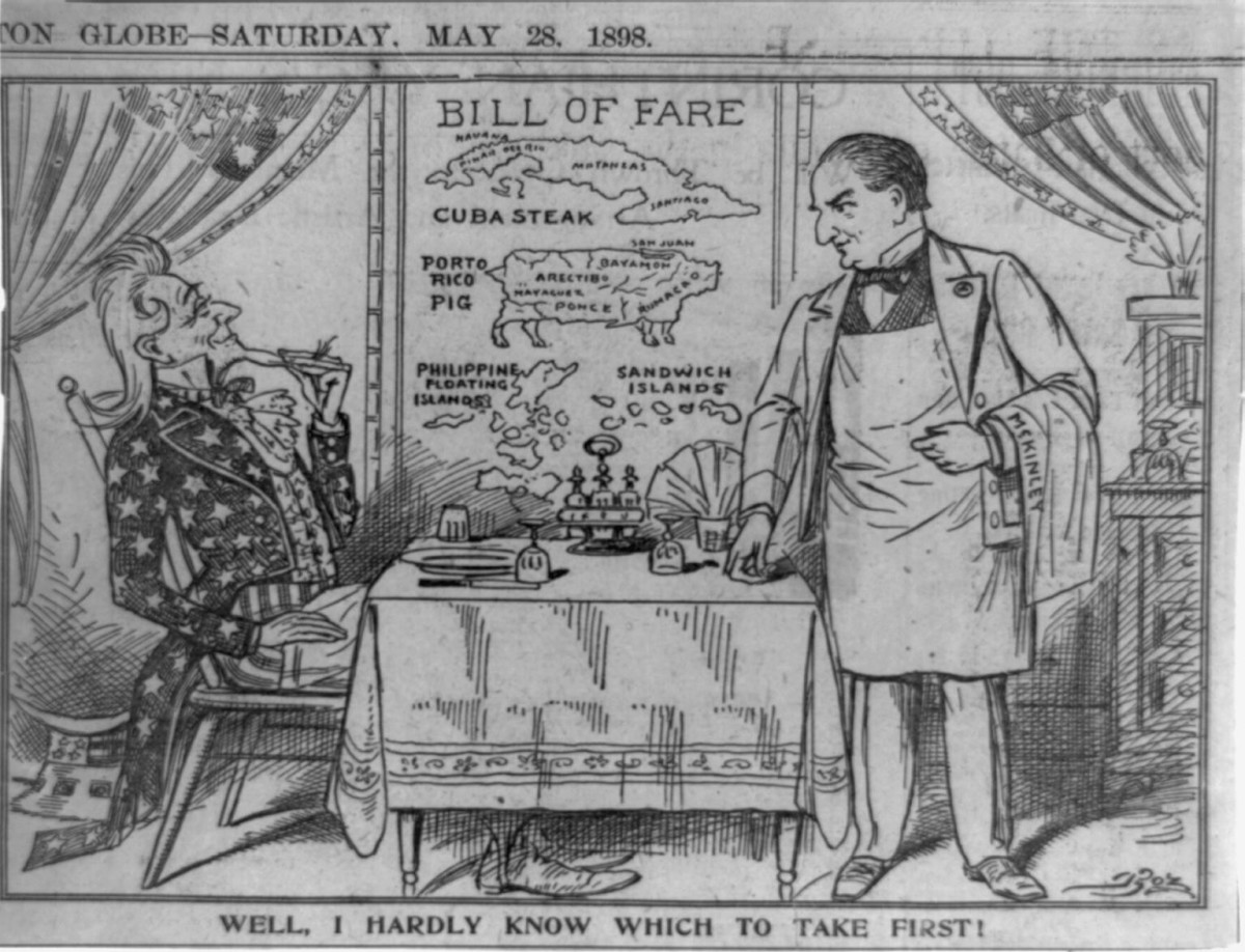 Cartoon in the Boston Globe, May 1898.