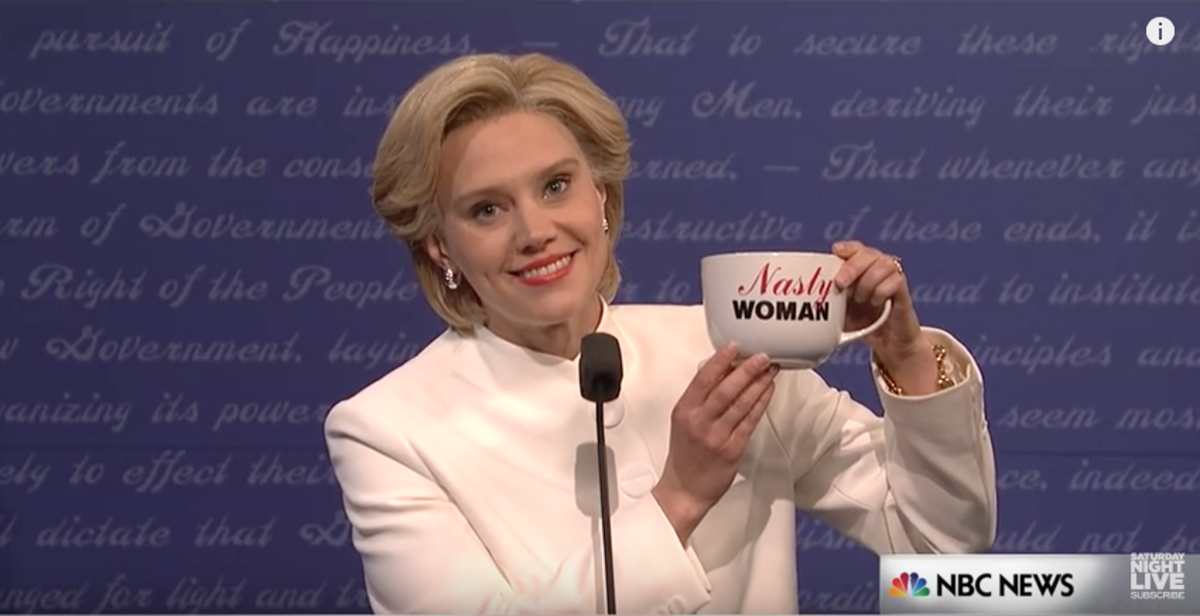 Kate McKinnon, playing Hillary Clinton, proudly flouts a nasty woman mug on Saturday Night Live.