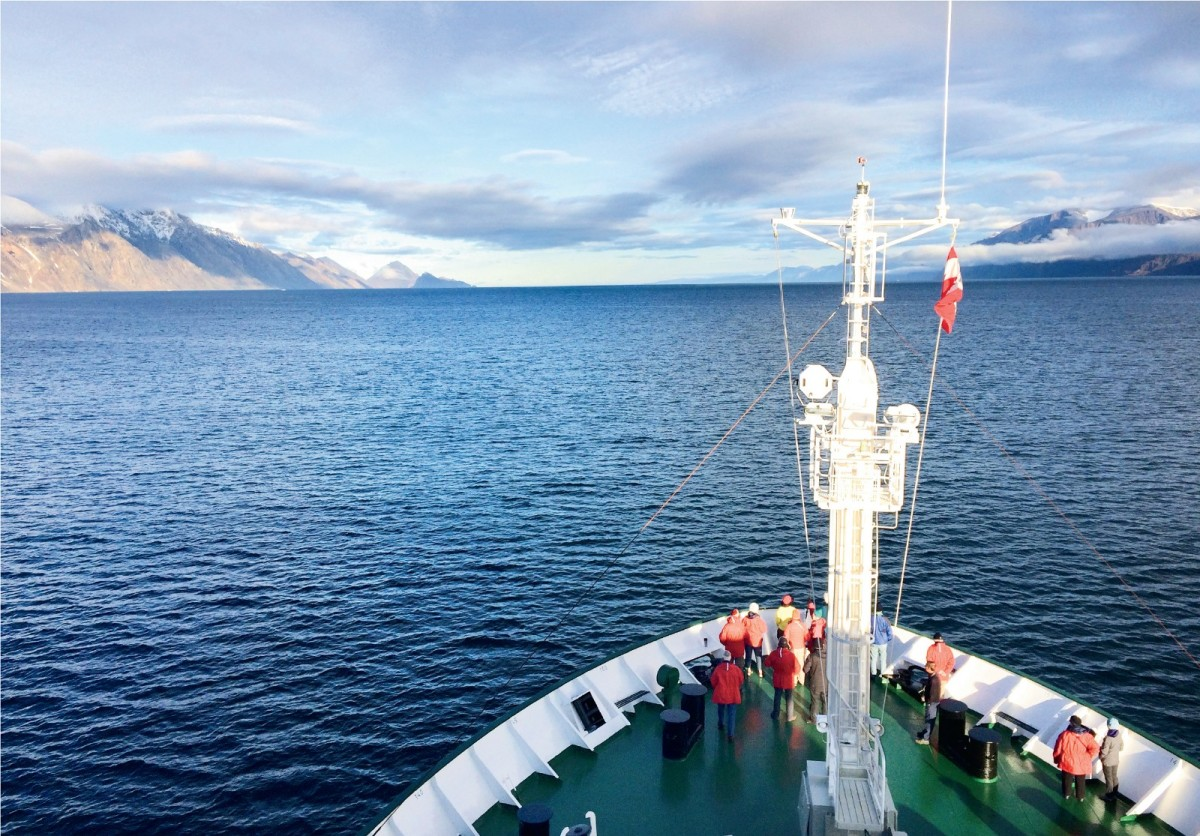 The Akademik Ioffe, a research vessel turned cruise ship, sails toward the shores of Canada's Baffin Island after crossing the Davis Strait from Greenland.
