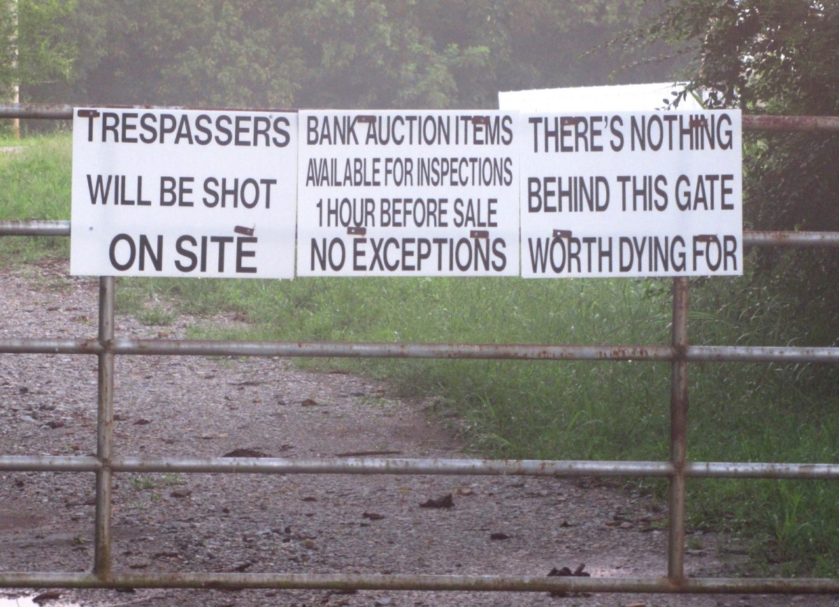 No trespassing signs at an auction storage site in Putnam County, Tennessee.