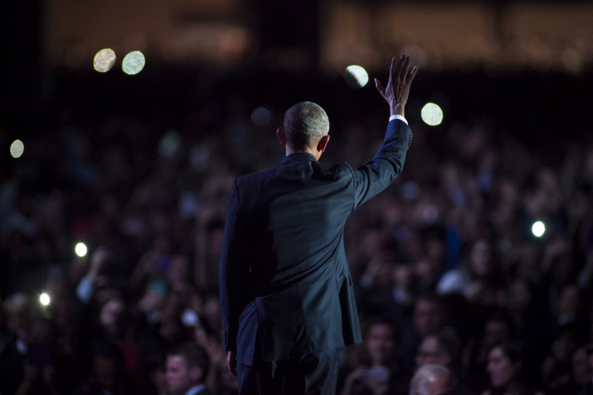 President Barack Obama waves to supporters after delivering his farewell speech on January 10th, 2017, in Chicago, Illinois.