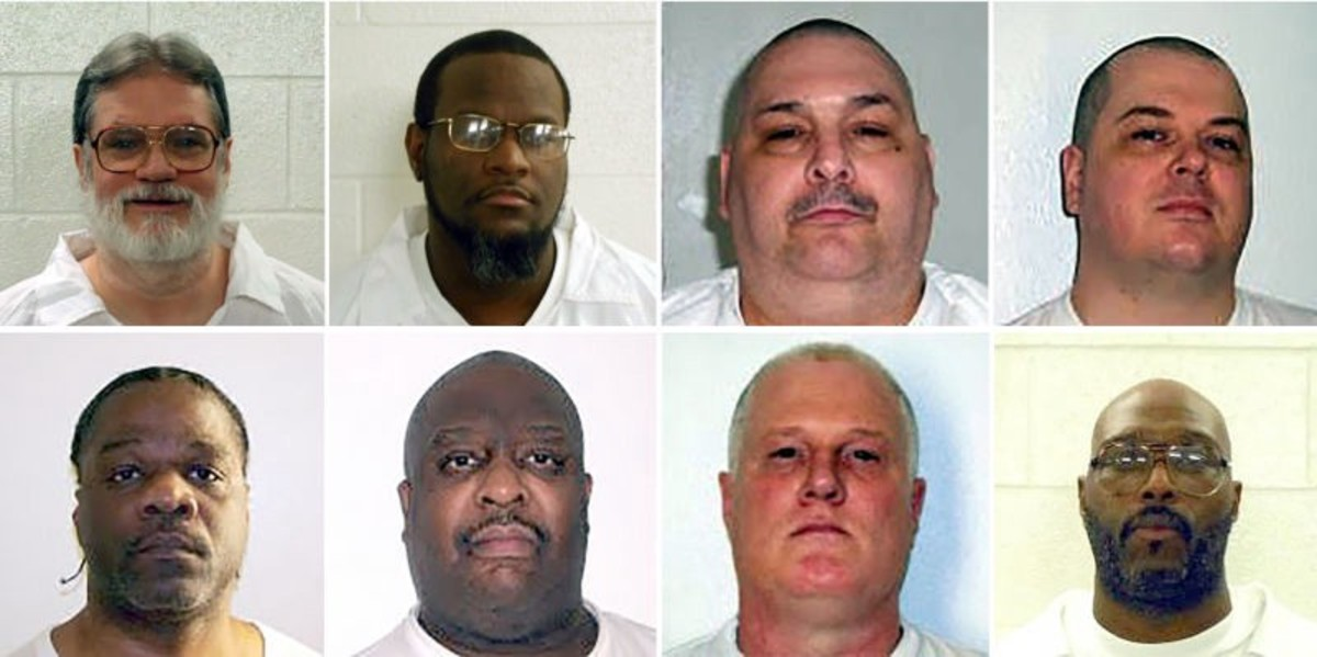 Marcel Williams (bottom row, second from the left) is one of eight men scheduled to be executed in April. (Photo: Arkansas Department of Correction)