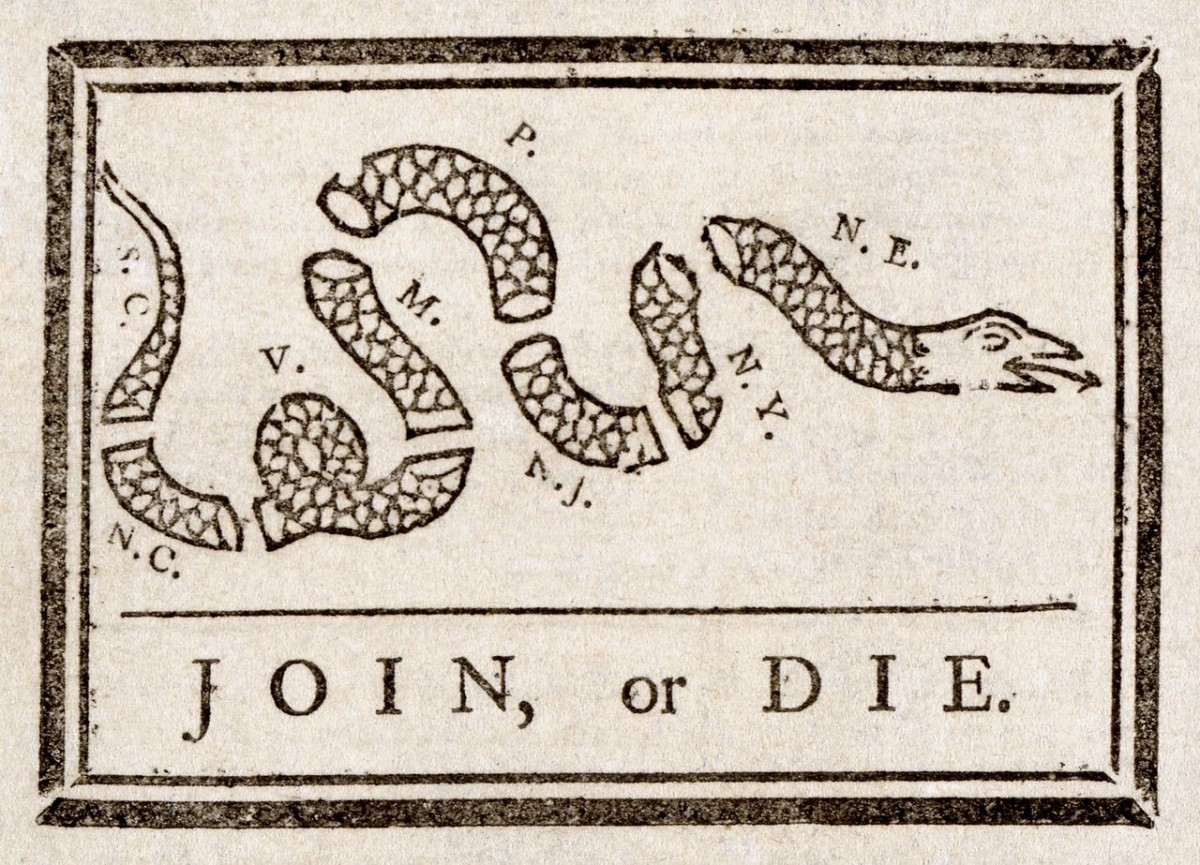 Join or Die, by Benjamin Franklin.