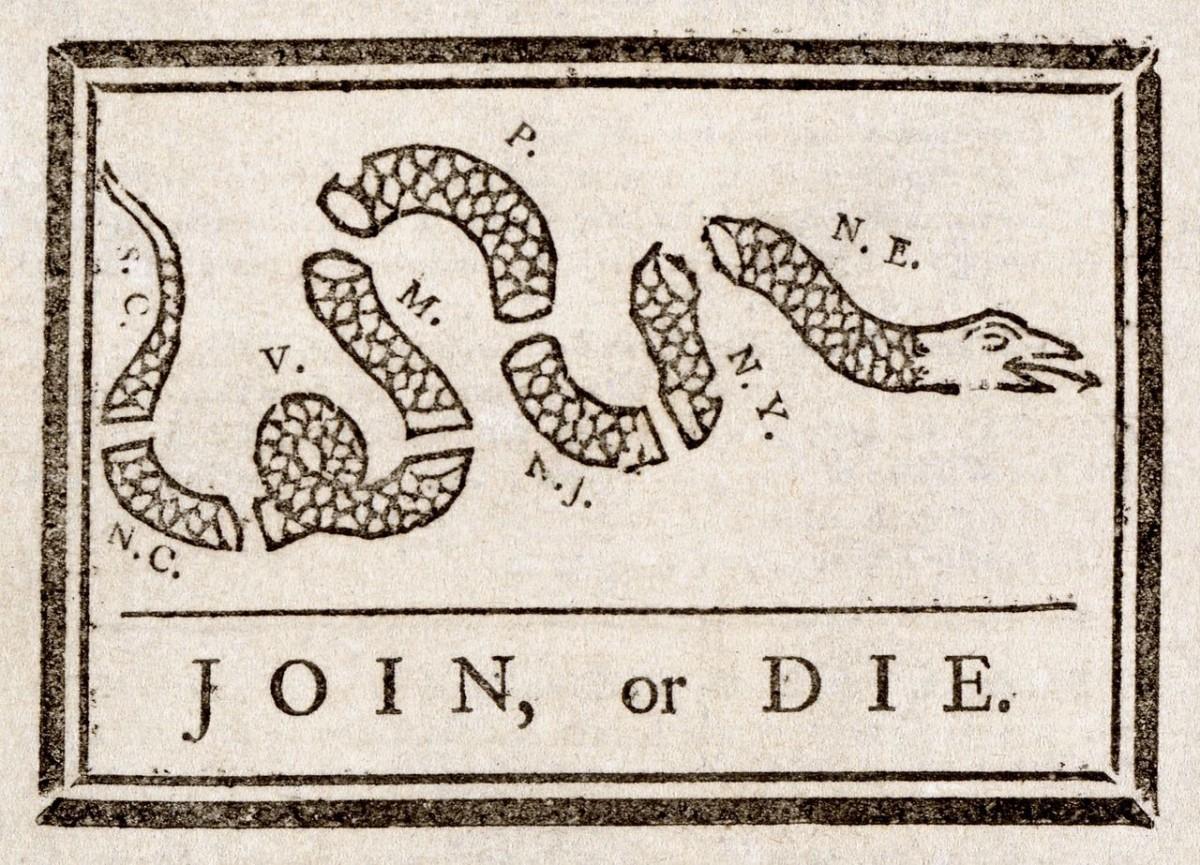 Join or Die, by Benjamin Franklin.