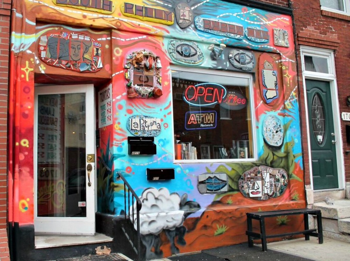 South Philly Barbacoa's 11th Street facade was designed by famed Philadelphia mosaic artist Isaiah Zagar.