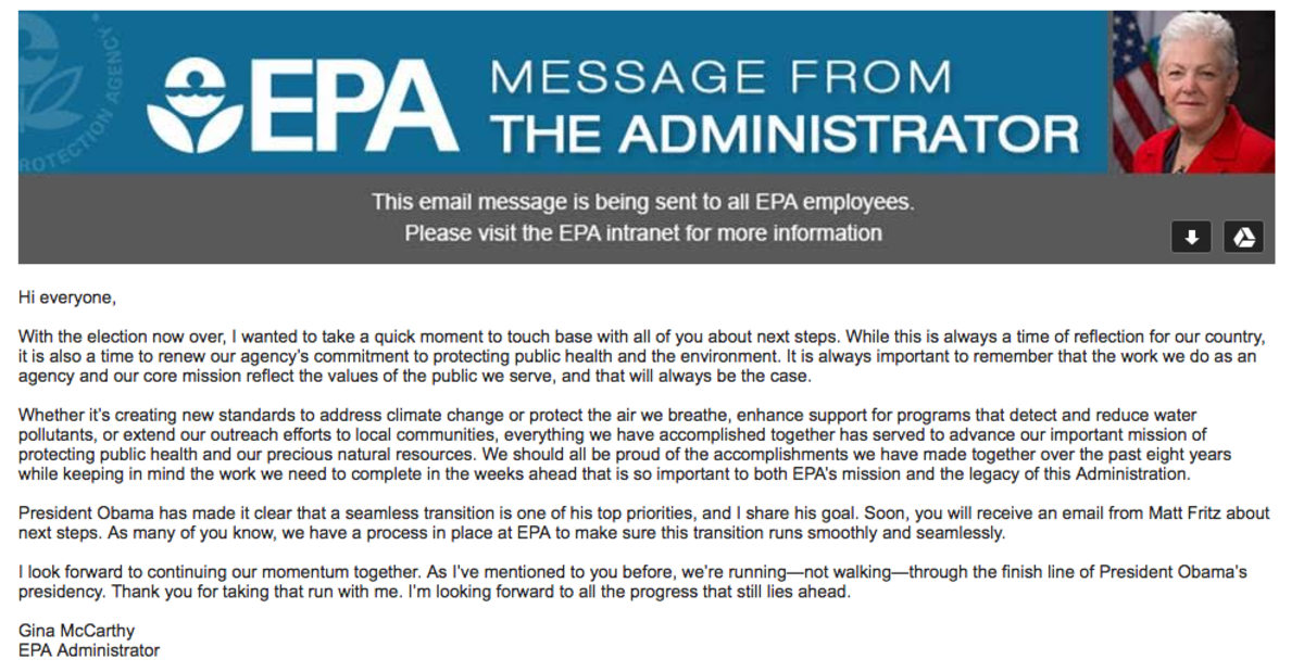 Email sent to the EPA staffers on Wednesday.