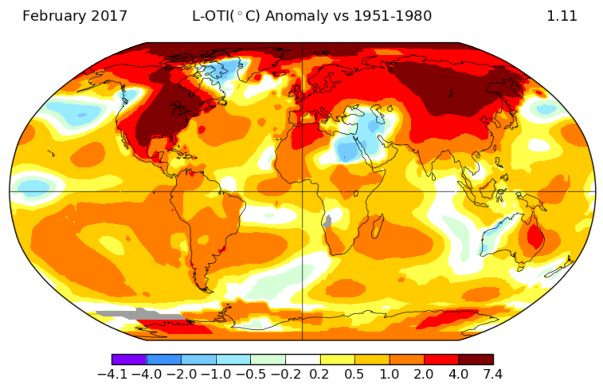 February of 2017 was the second-warmest February on record for Earth. (Image: NASA)
