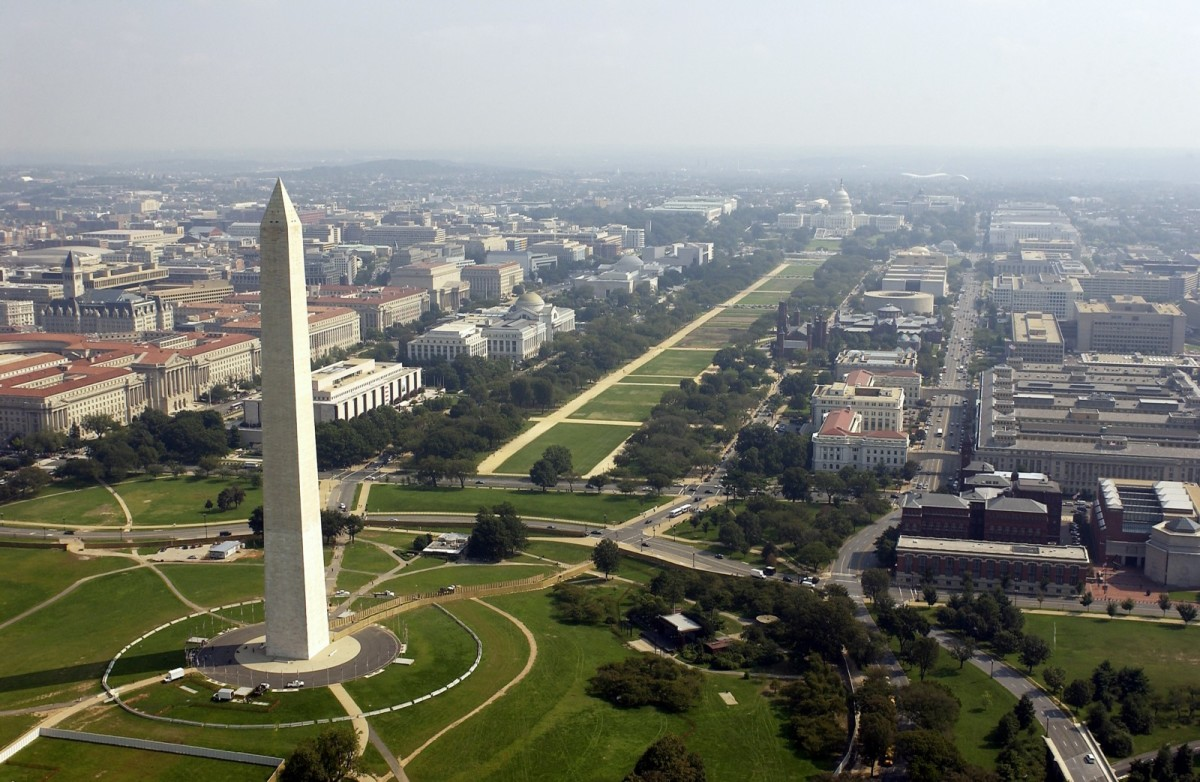 An aerial photo of the Washington Memorial in Washington, D.C.
